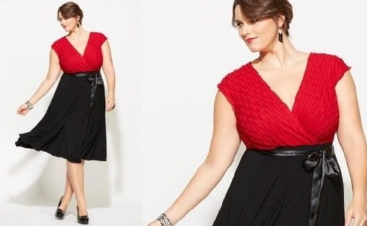 Plus-Size-New-Years-Eve-Outfits-Avenue-Two-Tone-Dress-Black-and-Red