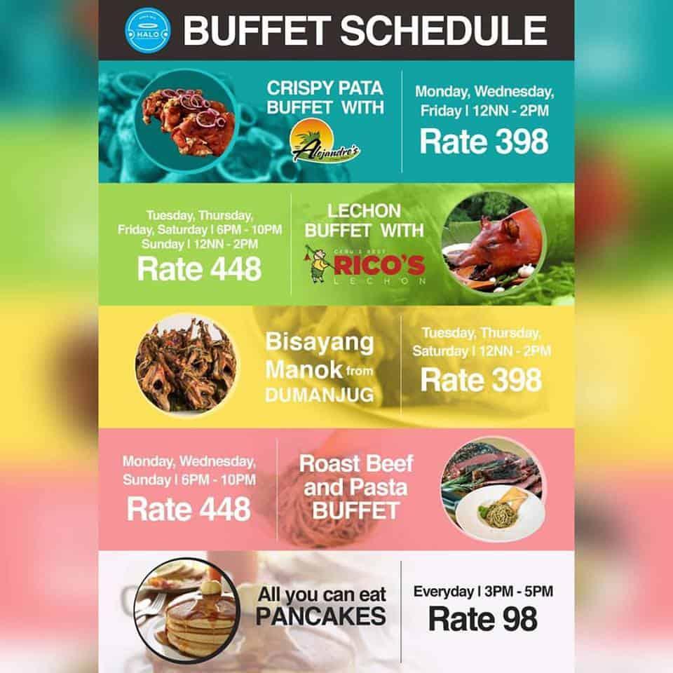 halo buffet schedule