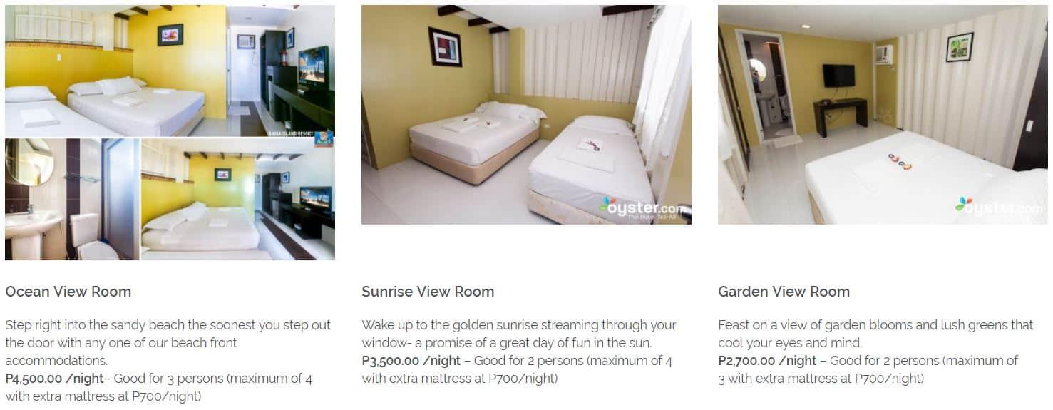 Anika Island Resort Bantayan Cebu – Room Rates 1