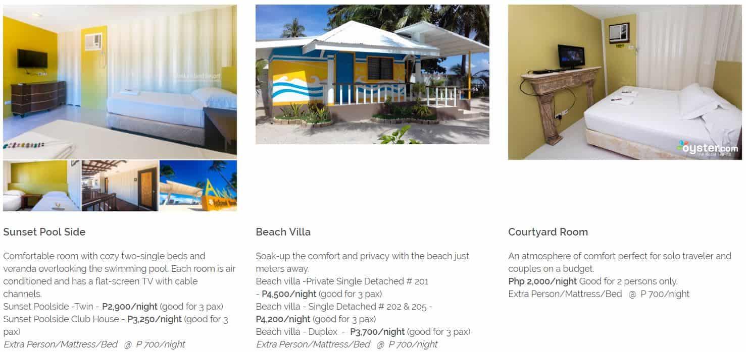 Anika Island Resort Bantayan Cebu – Room Rates 2