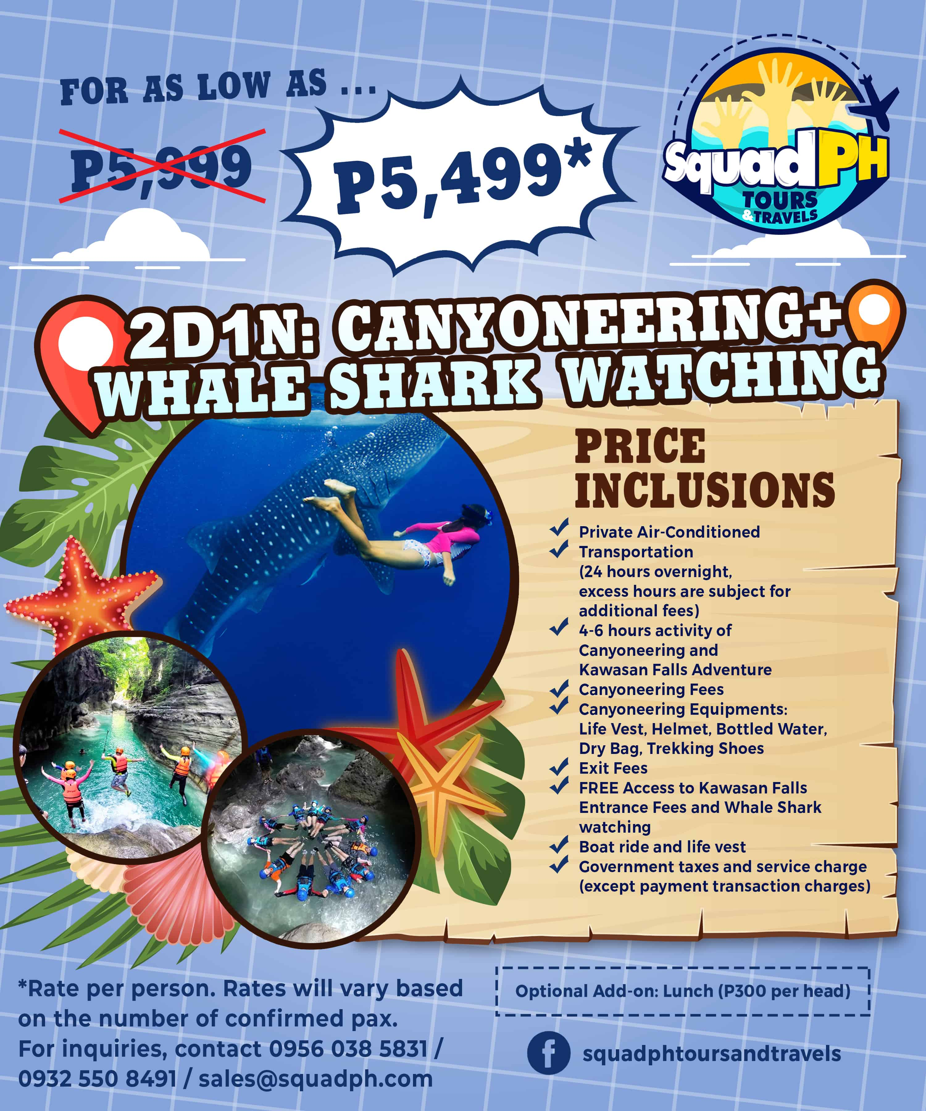 oslob whale shark canyoneering tour package