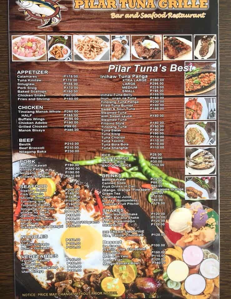 pilartunagrillecebu-menu