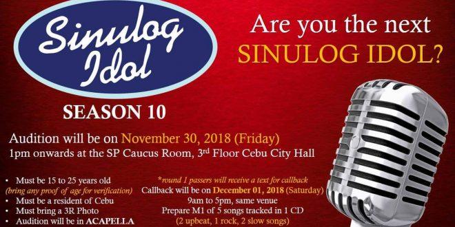 Sinulog Idol Season 10 (2019) to hold auditions on Nov  30
