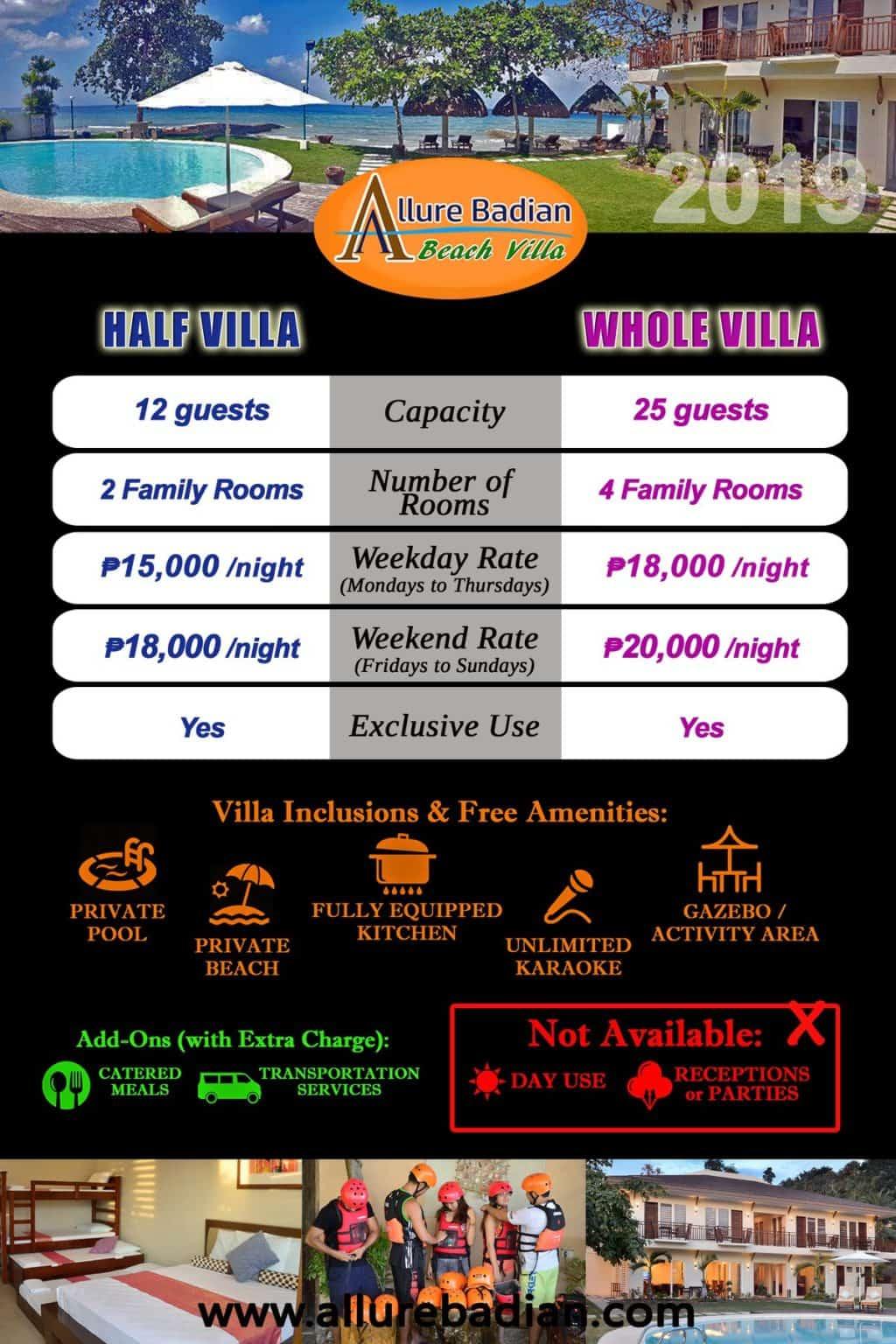 Allure Badian Beach Villa Resort - Rates