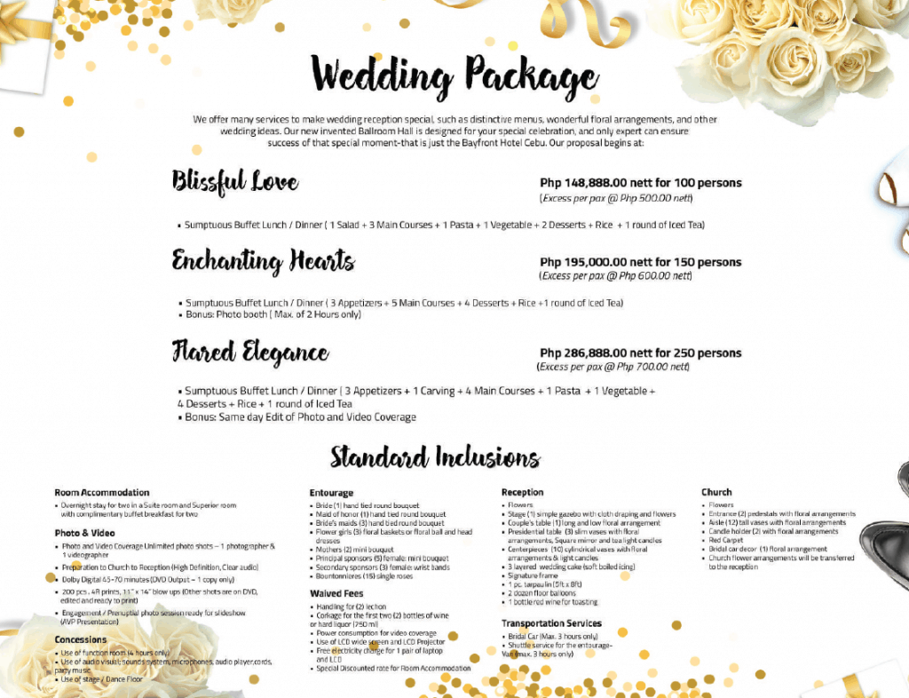 Bayfront Hotel Cebu - Wedding Package